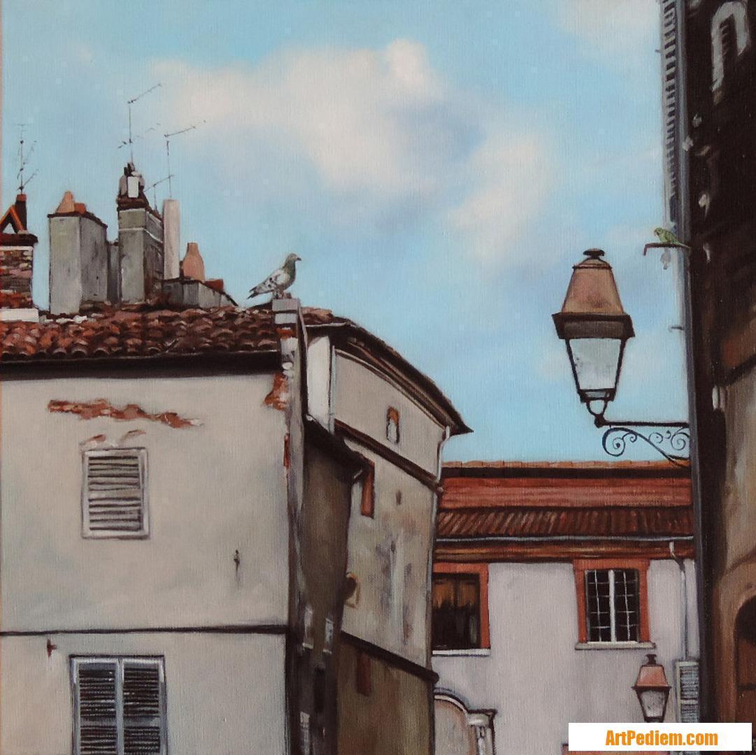 Oeuvre Lampadaire entre une perruche et un pigeon de l'Artiste Hugues Renck