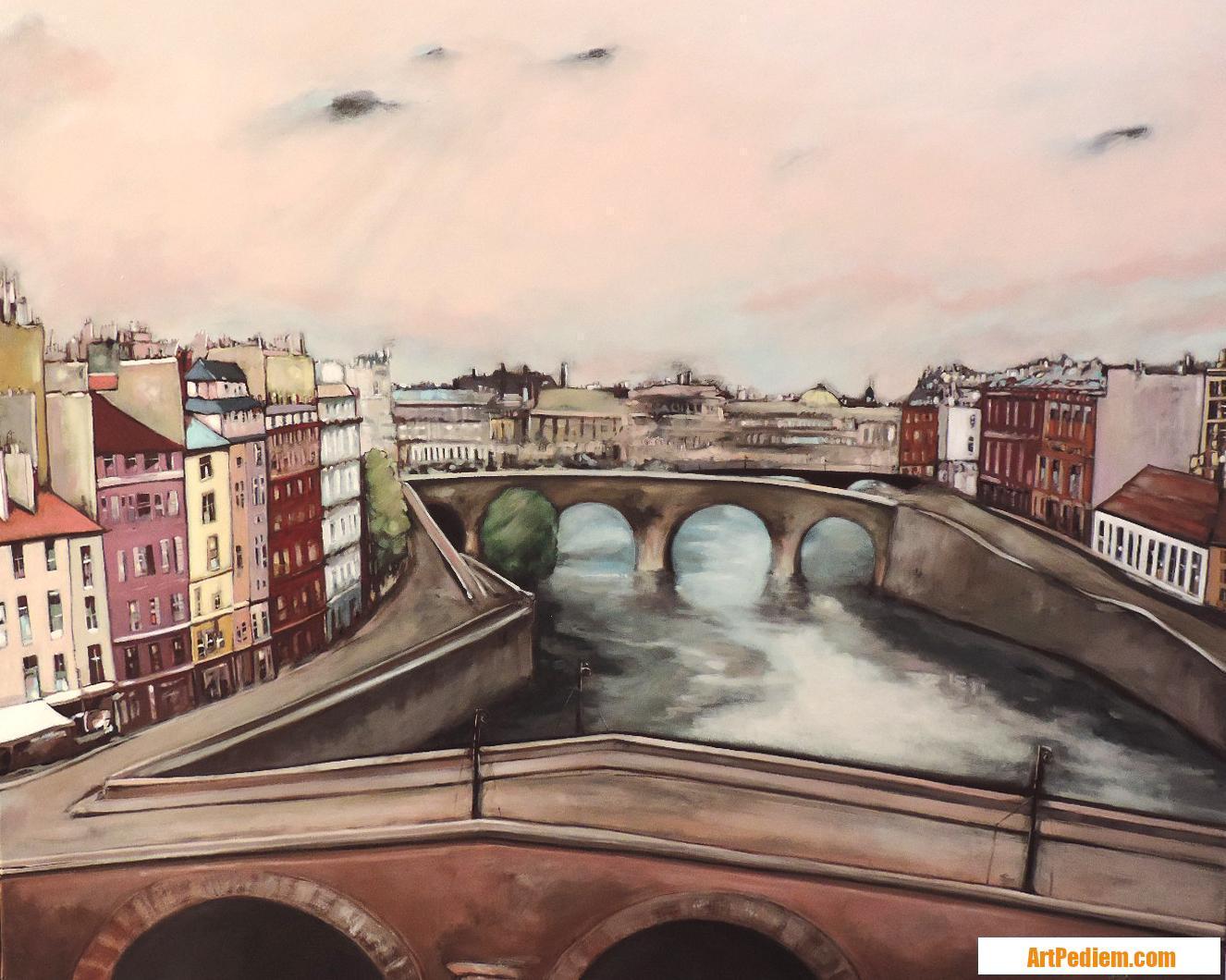 Oeuvre Les ponts du vieux Paris de l'Artiste Hugues Renck