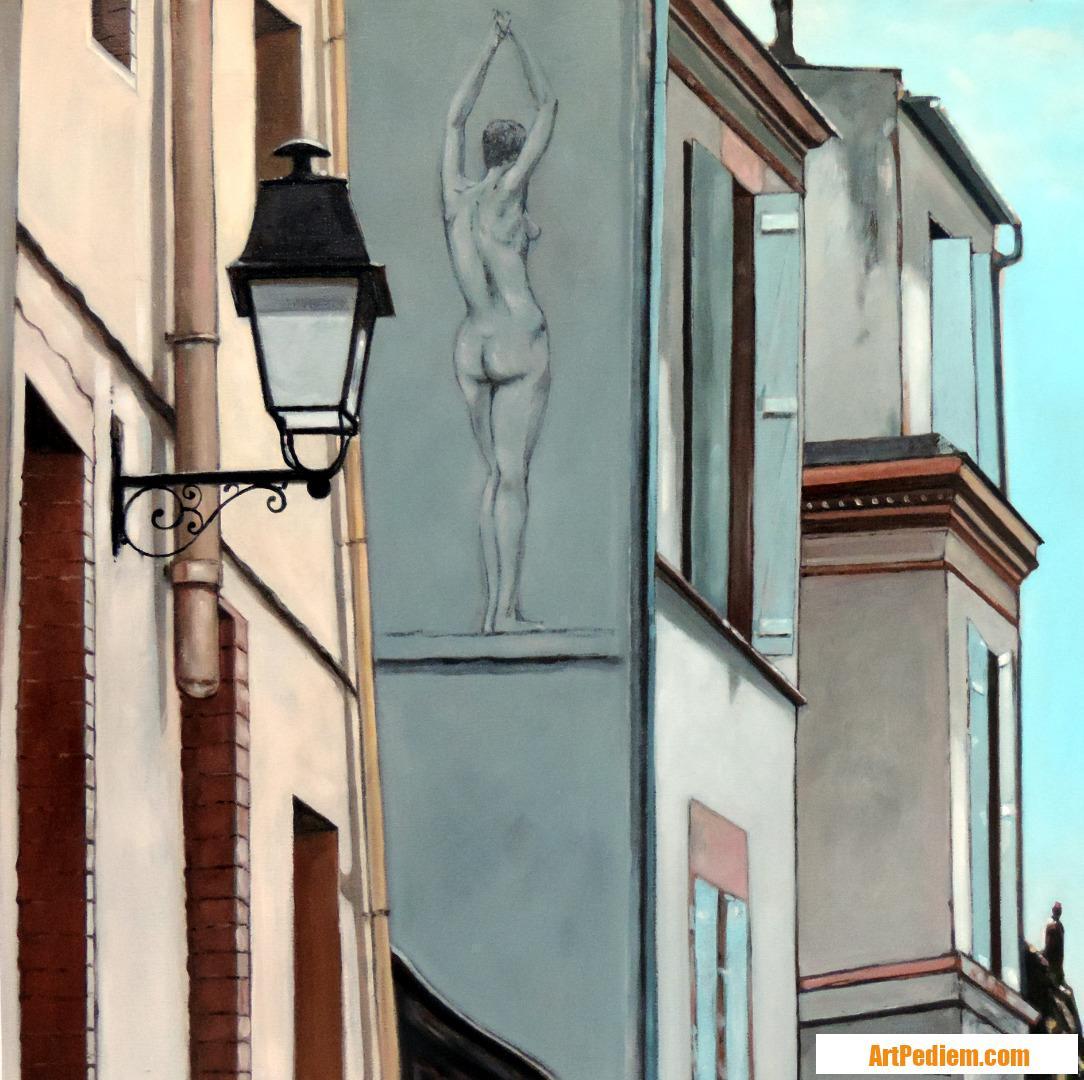 Oeuvre Nu feminin derrière un lampadaire de l'Artiste Hugues Renck