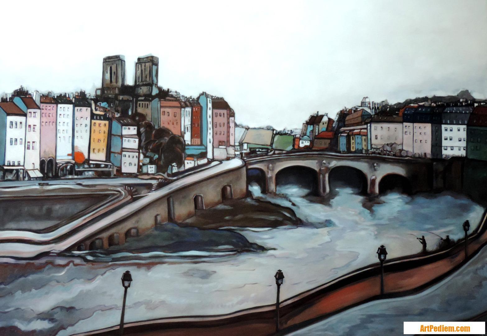 Oeuvre Partie de pêche sur la Seine de l'Artiste Hugues Renck