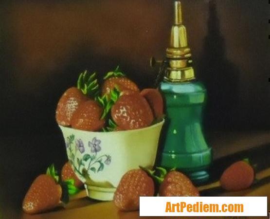 Oeuvre nature morte aux fraises (24 x 32) 250 euros de l'Artiste Robardet