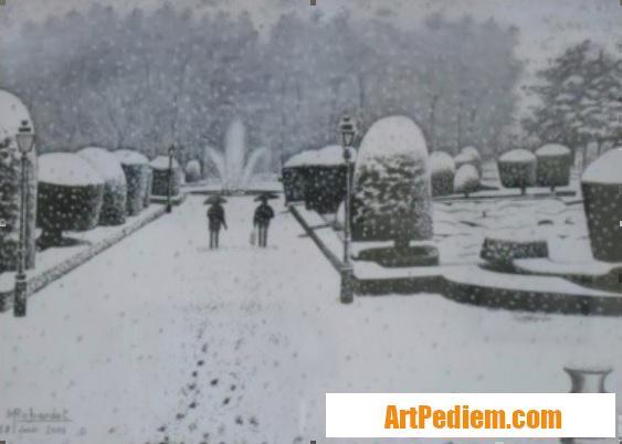 Oeuvre Jardin de l?Évêché sous la neige à Castres (Tarn) pas en vente de l'Artiste Robardet