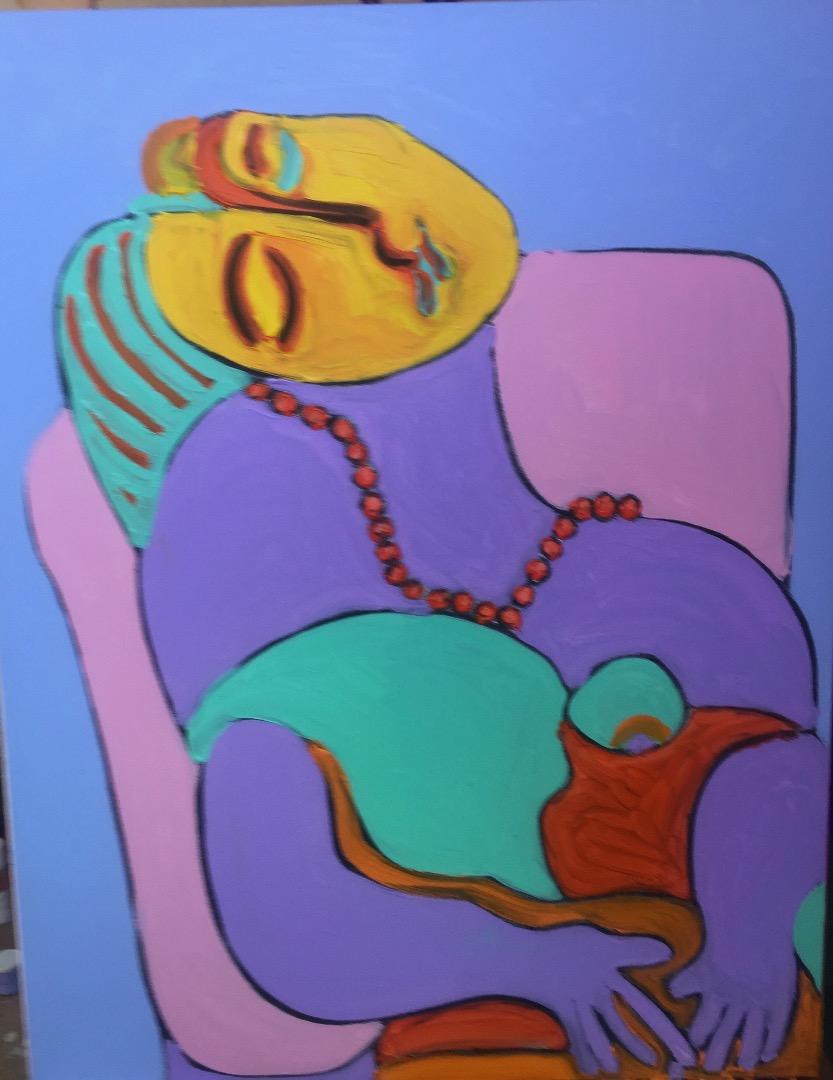 Oeuvre acrylique et fusain