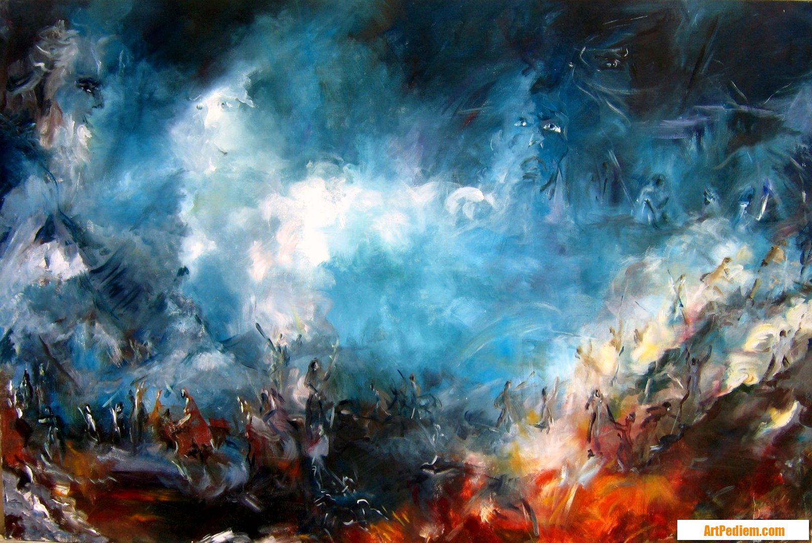 Oeuvre colere - 195x130 cm  de l'Artiste DELPLACE anne