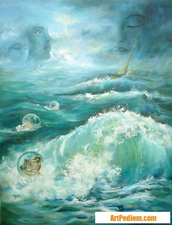 Oeuvre entre ciel et mer huile imaginaire 80x100cm de l'Artiste DELPLACE anne