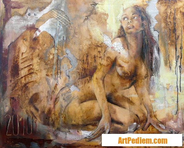 Oeuvre féminité 80x100 cm huile 2010 10 01 de l'Artiste DELPLACE anne