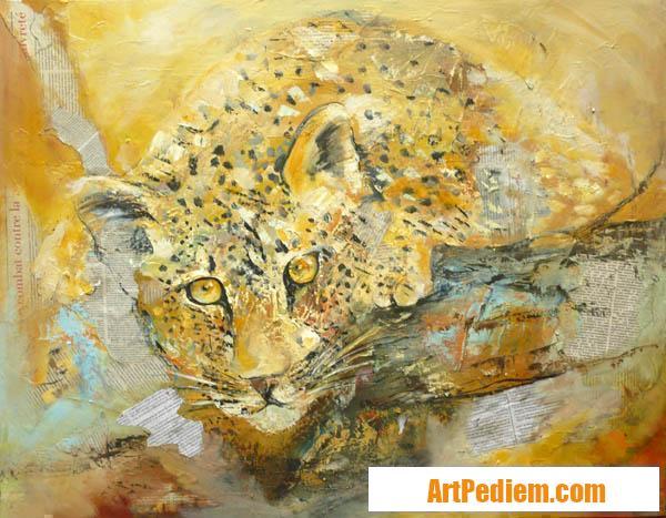 Oeuvre leopard aux aguets huile 70x90cm 2017 06 03 de l'Artiste DELPLACE anne