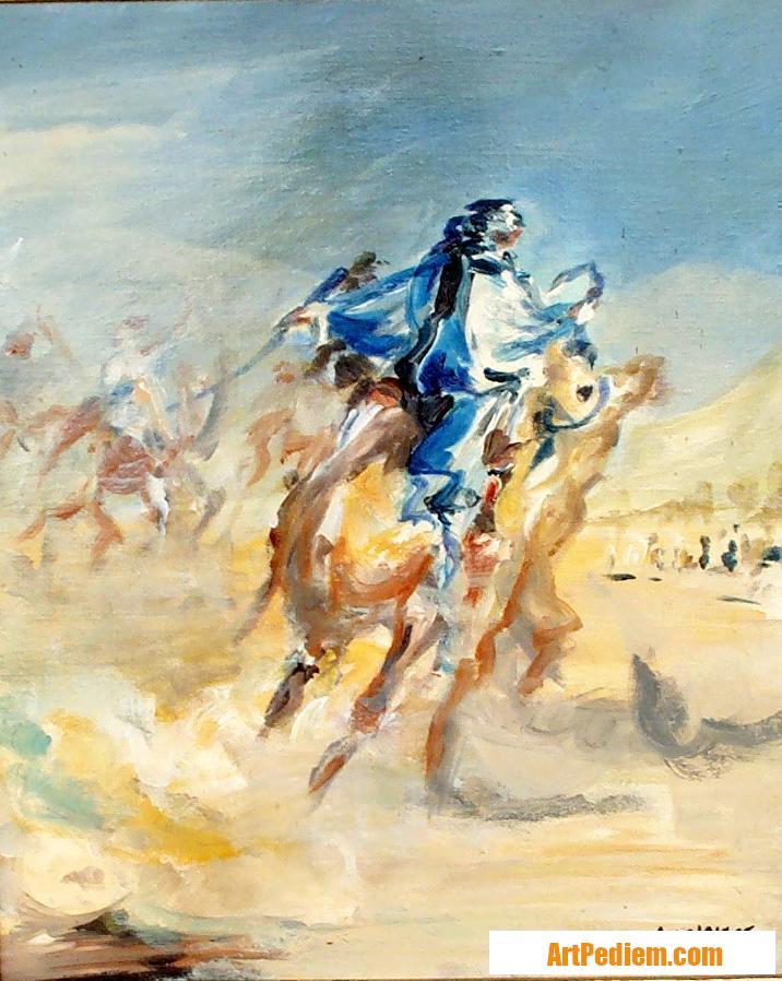 Oeuvre prouesse bleue - 38x46 - huile de l'Artiste DELPLACE anne